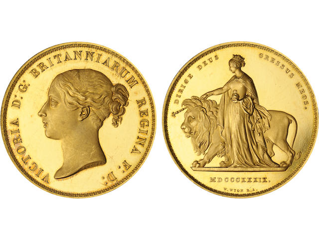 Great Britain, Victoria, 1839 5 Pounds Pattern of Una and the Lion