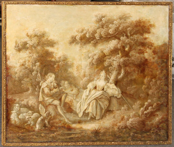 A Louis XV canvas overdoor of a fete gallant in sepia monochrome late 18th century