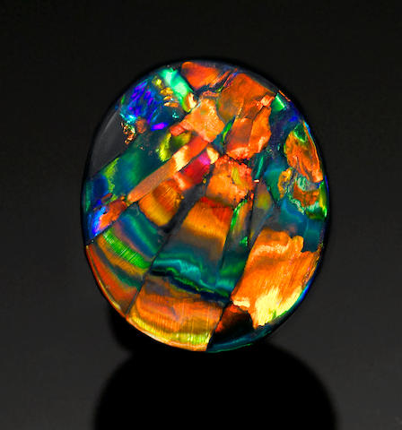 "Fine Black Opal with Pattern—""The Cathedral Window"""