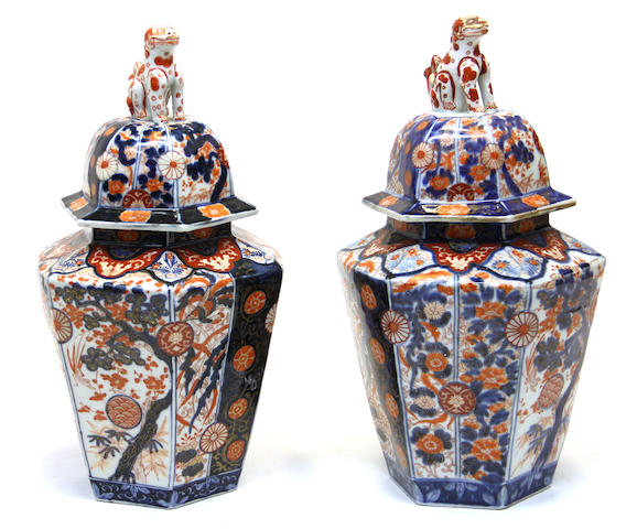 A pair of Imari lidded vases early 19th century