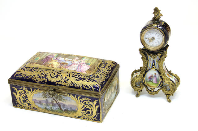 A Sèvres style earthenware bronze mounted table box and Louis XV style porcelain gilt bronze mounted timepiece