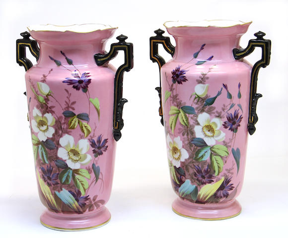 A pair of German porcelain two handled vases fourth quarter 19th century
