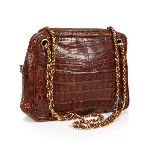A Chanel brown alligator handbag