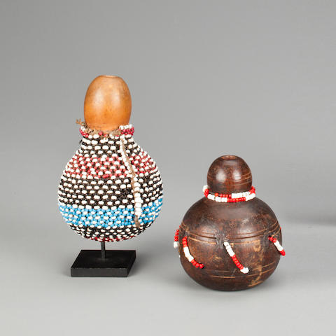 Two Zulu Snuff Bottles, South Africa heights 4 1/2 and 3 1/2in (11.4 and 8.9cm)