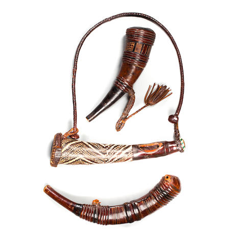 Two Mandigo Powder Horns and Trumpet, Guinea lengths of horns 10 1/2 and 10 1/4in (26.7 and 26cm); length of trumpet 8 1/4in (21cm)
