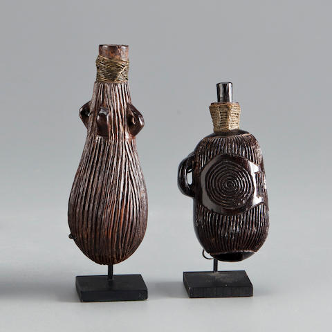 Two Sotho Snuff Containers, South Africa  heights 4 1/2 and 5 1/2in (11.4 and 14cm)