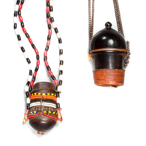 Two Masai Snuff Containers, Kenya  heights 2 3/4 and 3 3/4in and (7 and 9.5cm)