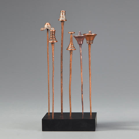 Six Kuba Hairpins, Democratic Republic of the Congo  heights 7 1/2 - 8 3/4in (19.1-22.2cm)