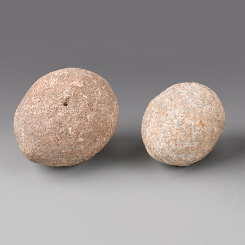Two Sling Stones, Hawaiian Islands widths 2 and 2 1/4in (5.1 anc 6.4cm)