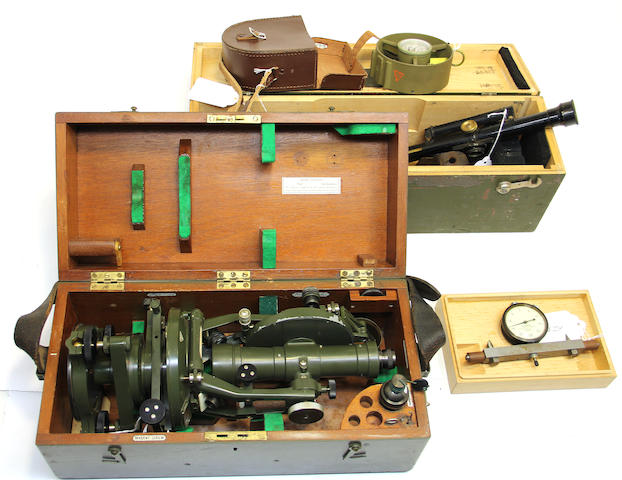 A surveyor's transit, compass, hand level, pair of binoculars, anemometer and a gauge