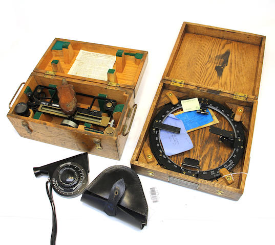 A sextant, sextant collimator, azimuth circle and two stadimeters