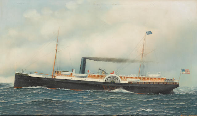 Antonio Nicolo Gasparo  Jacobsen (American, 1850-1921), circa 1895 The paddle steamer Old Dominion at sea 22 x 36 in. (55.8 x 91.4 cm.)