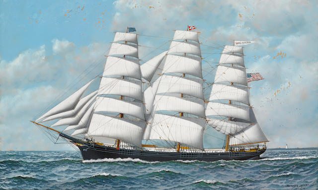 Antonio Nicolo Gasparo  Jacobsen (American, 1850-1921) The clipper ship Young America under full sail 22 x 36 in. (55.8 x 91.4 cm.)
