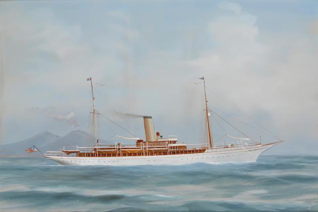Antonio De Simone (Italian, 1851-1907) The steam yacht Iolanda of the New York Yacht Club in the bay of Naples18 x 26-1/2 in. (45.7 x 67.3 cm.)