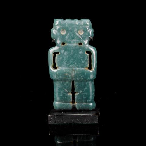 Jade Figural Pendant, Costa Rica, ca. 500 B.C. - A.D. 500 height 2 1/2in (6.4cm)