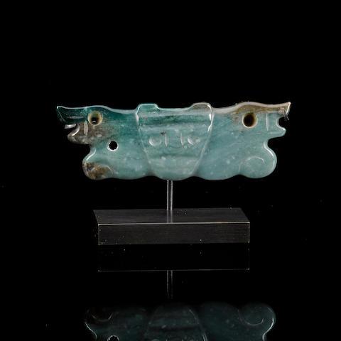 Jade Pendant, Costa Rica, ca. 500 B.C. - A.D. 500 width 2 5/8in (6.7cm)