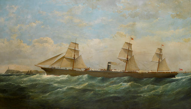 Samuel Walters (British, 1811-1882), circa 1876 The S.S. City of Berlin outward bound passing Cape Pine Lighthouse 34-1/2 x 59-1/2 in. (87.6 x 151.1 cm.)
