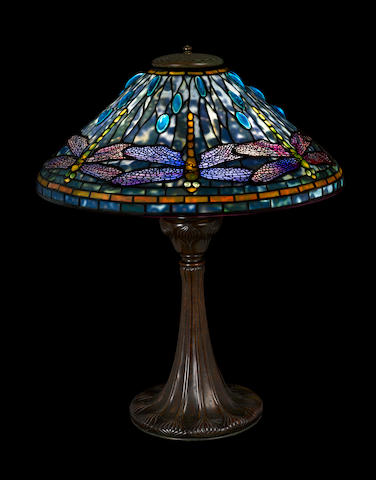 A Tiffany Studios Favrile glass and patinated-bronze Dragonfly table lamp 1899-1918
