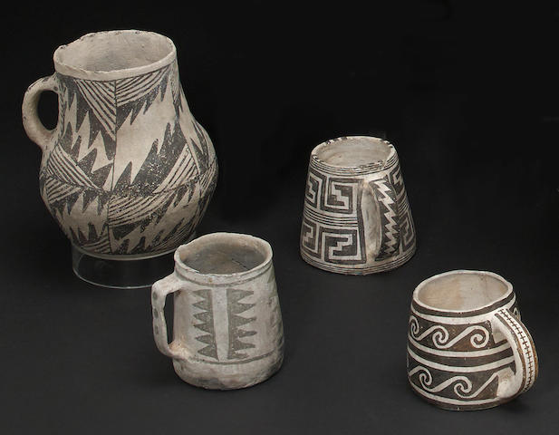 Four Anasazi black-on-white vessels