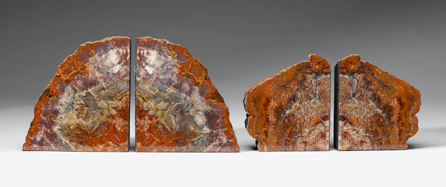 Two sets of Arizona Petrified Wood Bookends
