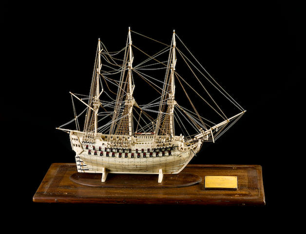 A Napoleonic POW model of a 74-gun ship of the line