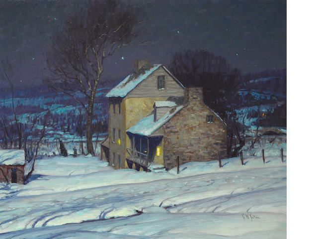 George William Sotter (American, 1879-1953) Homestead at night 22 x 26in