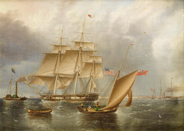 James Edward Buttersworth (British/American, 1817-1894) An American ship being towed out with other shipping 12 x 16 in. (30.4 x 40.6 cm.)