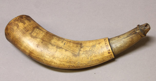 An incised American powder horn attributed to the 'Mementos Mori' carver