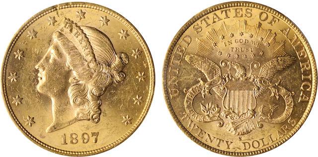 1897-S $20 MS62 PCGS