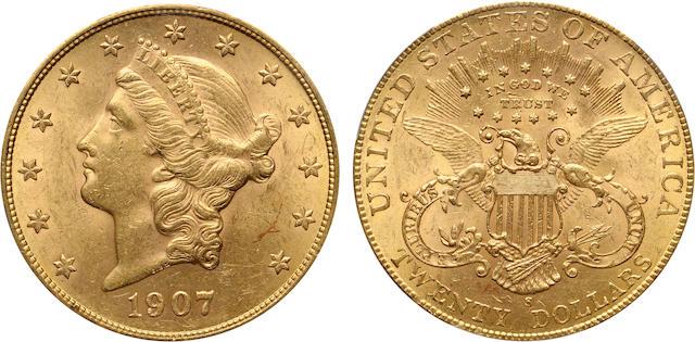 1907-S $20 MS62 PCGS