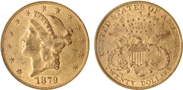 1879 $20 AU58 PCGS