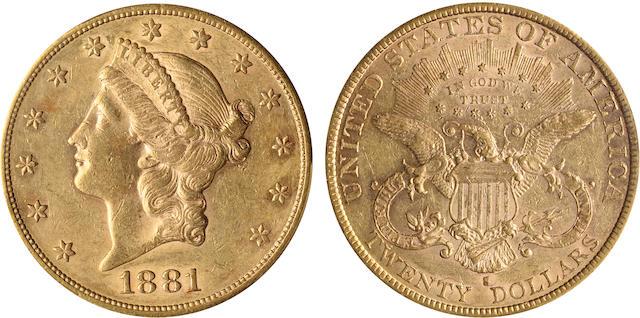 1881-S $20 AU55 PCGS