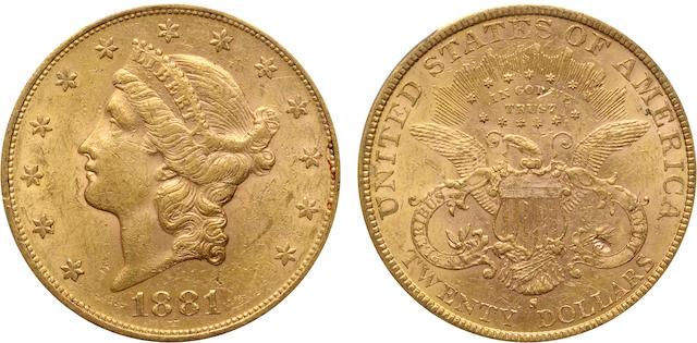 1881-S $20 AU58 PCGS