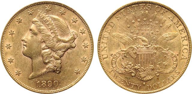 1890-S $20 AU53 PCGS