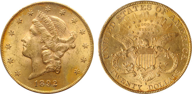 1892-S $20 MS62 PCGS