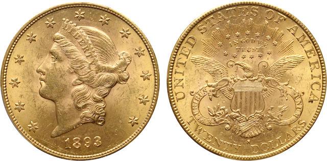 1893-S $20 MS63 PCGS