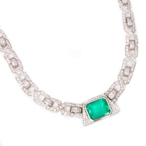 A diamond and emerald necklace