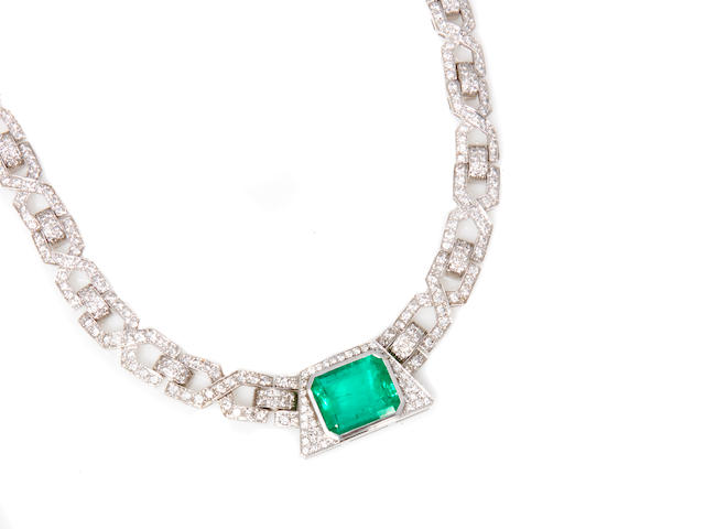 A diamond and emerald necklace, commercial quality