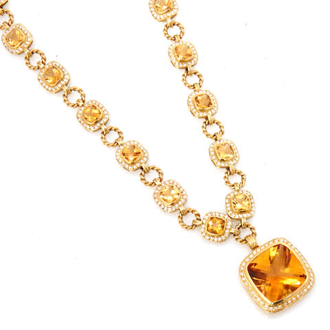 An eighteen karat gold and citrine necklace, commercial quality