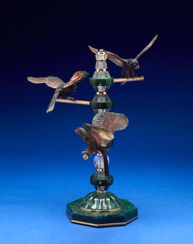 Multi-Color Tourmaline Study of Three Parakeets on a Gold and Gemstone Perch