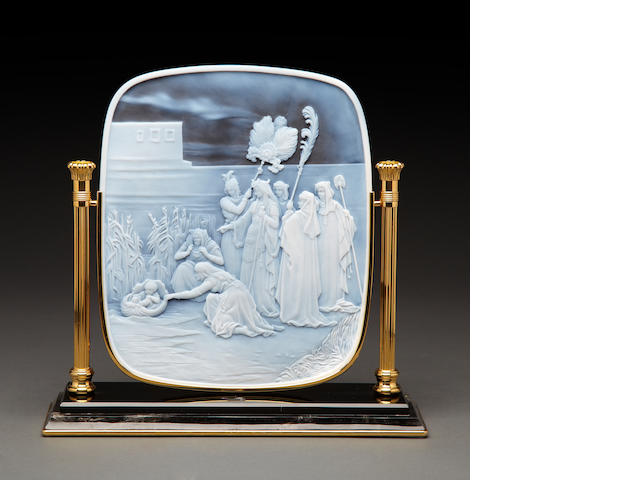 "Superb Agate Cameo—""Moses in the Bullrushes"""