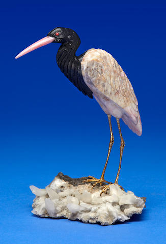 Pink Opal and Obsidian Carving of a Heron