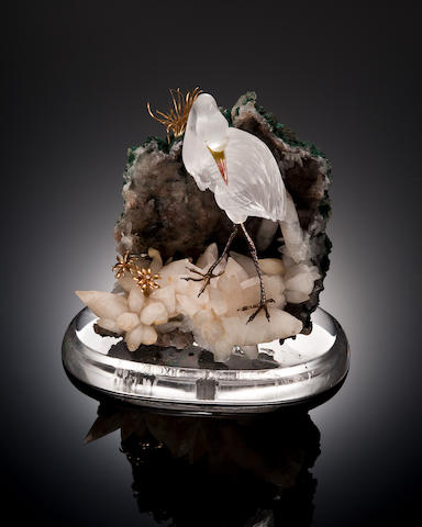 Rock Crystal Carving of a Heron in Landscape