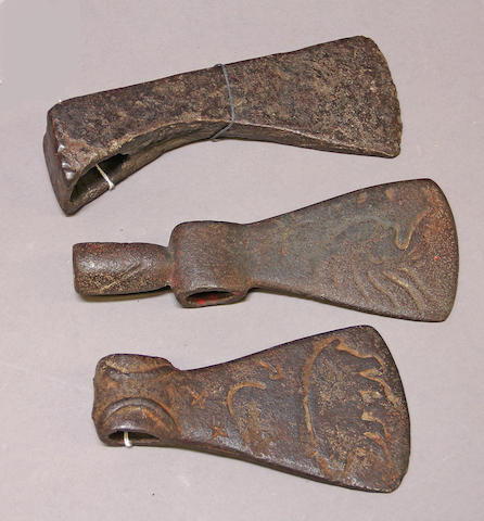 A 19th century wood working axe and two later cast iron tomahawk heads -Select US Arms Type-