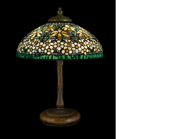 A Tiffany Studios Favrile glass and patinated-bronze Jonquil and Daffodil table lamp 1899-1918