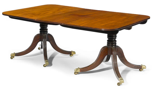 A George III mahogany twin pedestal dining table  fourth quarter 18th century
