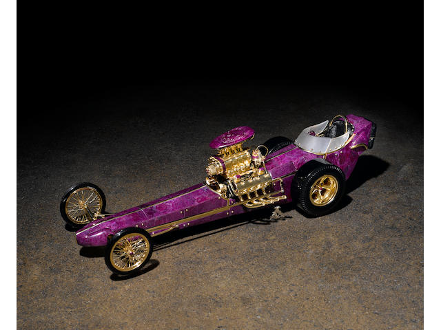 Unique Carved Ruby and Obsidian Dragster--The Greer Black Dragster""