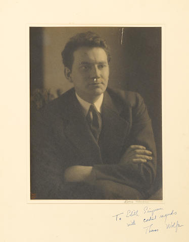 "WOLFE, THOMAS. 1900-1938. Photograph Signed (""Thomas Wolfe"") and Inscribed, 6 x 8 inch silver print portrait by DORIS ULLMAN,"