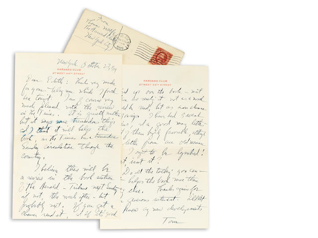WOLFE, THOMAS. Autograph Letter Signed, 10/27/29, with envelope, regarding Look Homeward, Angel