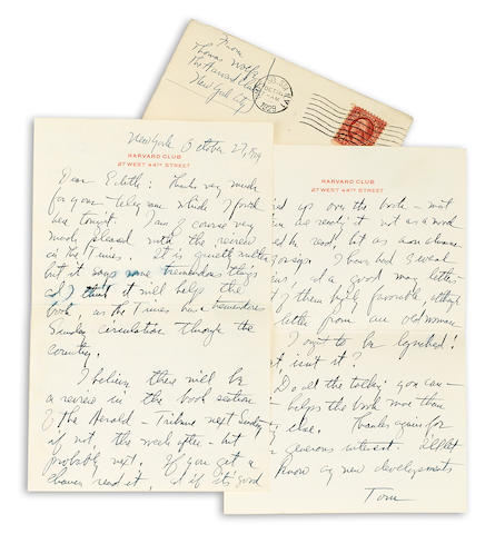 "WOLFE, THOMAS. 1900-1938. Autograph Letter Signed (""Tom""), 3 pp recto and verso, 8vo, New York, October 27, 1928, to Edith Simpson,"